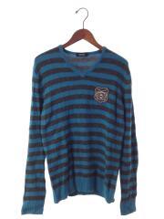 セーター(薄手)/2/ウール/毛/BLU/青/ブルー/グレー/ボーダー/Vネック