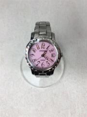 E011-S049288/クォーツ腕時計/アナログ/ピンク/シルバー/銀/ソーラー電池