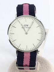 クォーツ腕時計/アナログ/ナイロン/ホワイト/白/ネイビー/紺/ピンク/箱有