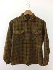 60s/フラップポケットワークネルシャツ/M/ウール/BEG/チェック/ビンテージ