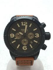 フォッシル/CH-2666/クオーツ腕時計/アナログ/レザー/ブラック