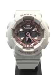 カシオ/クォーツ腕時計・Baby-G/デジアナ/ピンク/ホワイト/BA-130-4AJF