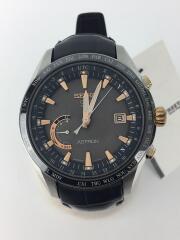 ソーラー腕時計/アナログ/レザー/GRY/BLK/8X22-0AG0-2