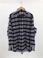 18AW/WOOL CHECK L/S SHIRTS-BLUE/カシミア混長袖シャツ/FREE/ウール/チェック