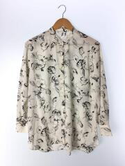 ハンドフラワープリントバンドカラーシャツ/--/ポリエステル/WHT/花柄/1611-162-2122