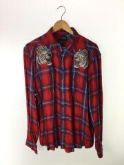 刺繍長袖シャツ/XL/コットン/RED/チェック