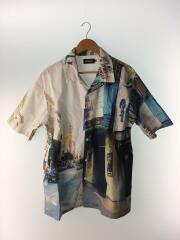 19ss/フォトプリントオープンカラーシャツ/XL/コットン/WHT/総柄