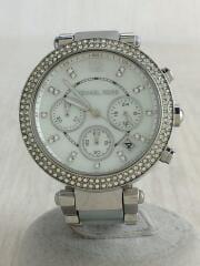 クォーツ腕時計/アナログ/ステンレス/WHT/SLV/MK-6138