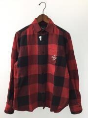 ポケット付フロント刺繍ネルシャツ/S/コットン/RED/チェック
