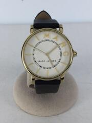 ROXY/クォーツ腕時計/アナログ/レザー/WHT/BLK/MJ1532