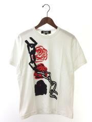 Tシャツ/L/コットン/WHT/花柄
