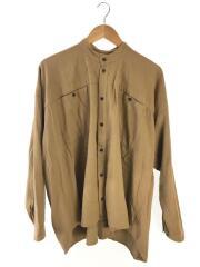 スタンドカラー/オーバーサイズシャツ/長袖シャツ/M/リネン