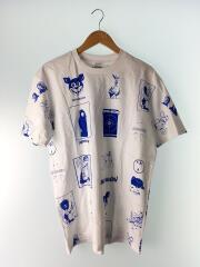 Tシャツ/L/コットン/WHT/総柄