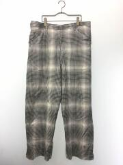 GINGHAM SHADOW FAT STRAIGHT PANTS/汚れ有/2/コットン/WHT/20S49