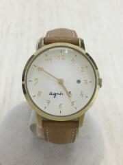 クォーツ腕時計/アナログ/レザー/WHT/VJ22-KFX0