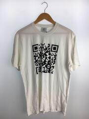 Tシャツ/QRコードプリント/M/コットン/WHT