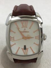 タイムオラ レッタンゴラ/クォーツ腕時計/アナログ/レザー/ホワイト/ブラウン/OR-0012-1