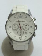 クォーツ腕時計/アナログ/ラバー/シルバー/ホワイト/AR-5859