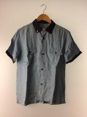 ボーリングシャツ/テンセル/半袖シャツ/M/BLU/無地/サーフ/ルード/開襟/オープンカラー/