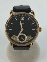 ME1168/クォーツ腕時計/アナログ/レザー/BLK/ブラック/ゴールド/自動巻き