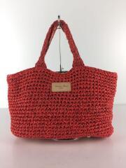 サマートートバッグ/編み/鞄/赤/レッド/ロゴ/ハンドバッグ/内側生地ハイビスカス