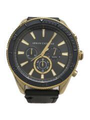 AX1818/クォーツ腕時計/アナログ/ラバー/ブラック/ゴールド/クロノグラフ/ステンレス