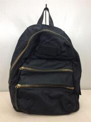 リュック/ナイロン/ブラック/バックパック/インポート/セレクト/黒/ロゴ/ジップ/鞄/カバン/黒