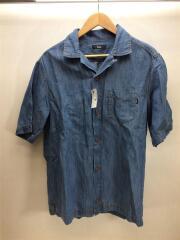 開襟/オープンカラー/半袖シャツ/XL/コットン/デニム/インディゴ/トップス/羽織/インポート