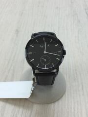 クォーツ腕時計/アナログ/レザー/BLK/VD78-KHB0/革/シンプル/黒/ブラック/