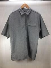 ジップアップシャツ//半袖シャツ/M/ポリエステル/トップ/グレー/ストリート/01192405