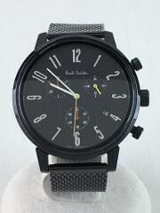 クォーツ腕時計/アナログ/ステンレス/BLK/BLK