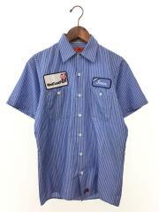 半袖シャツ/S/コットン/BLU/ストライプ