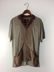 半袖シャツ/46/レイヤードシャツ/カットソー生地/オープンカラー/切り替えし