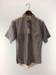 半袖シャツ/S/コットン/BLU/チェック/切り替え/ブルー