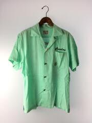 半袖シャツ/M/レーヨン/BLU/ボーリングシャツ/オープンカラー/青/タグ付き/40582