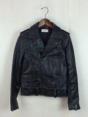 ヴィンテージ加工/モーターサイクルジャケット/44/牛革/BLK/1971プリント/サンローラン// motorcycle jacket  バックプリント