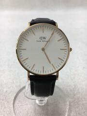 ダニエルウェリントン/クォーツ腕時計/アナログ/レザー/ホワイト/ブラック