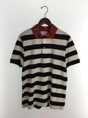 エンブロイダリーボーダーポロシャツ/ポロシャツ/L/コットン/BLK/ボーダー
