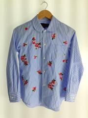 長袖シャツ/S/コットン/BLU/ストライプ/TE-B206/AD2019/薔薇刺繍丸襟