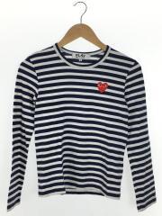 プレイコムデギャルソン/AZ-T009/長袖Tシャツ/S/コットン/NVY/ボーダー
