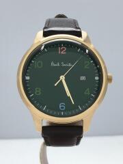 クォーツ腕時計/アナログ/レザー/GRN/BRW/2510-T023754