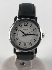 クォーツ腕時計/アナログ/レザー/SLV/BLK