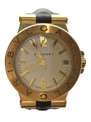 腕時計/アナログ/レザー/GLD/BRW/DG29G/K18