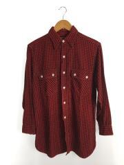 40s/マチ付きプリントネルシャツ/--/コットン/RED/千鳥格子
