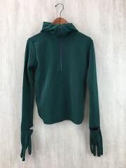 Tricot jersey hoodie top/ジップパーカー/36/ポリエステル/GRN