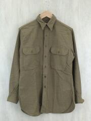 40s/ウールシャツ/14.5/ウール/KHK/無地
