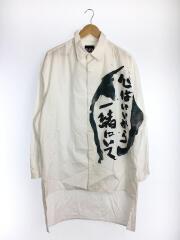 長袖シャツ/2/コットン/WHT/プリント/ロングシャツ Be With Me HN-B35-023