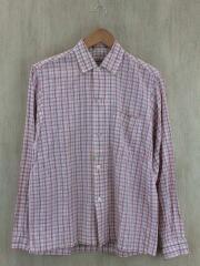 60s/3点留ボックスシャツ/長袖シャツ/S/コットン/WHT/チェック
