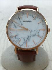 腕時計/アナログ/レザー/WHT/BRW/BA3102/WHITEMARBLEBROWN