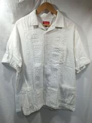 オープンカーラーシャツ/半袖シャツ/刺繍/L/シルク/ホワイト/無地
